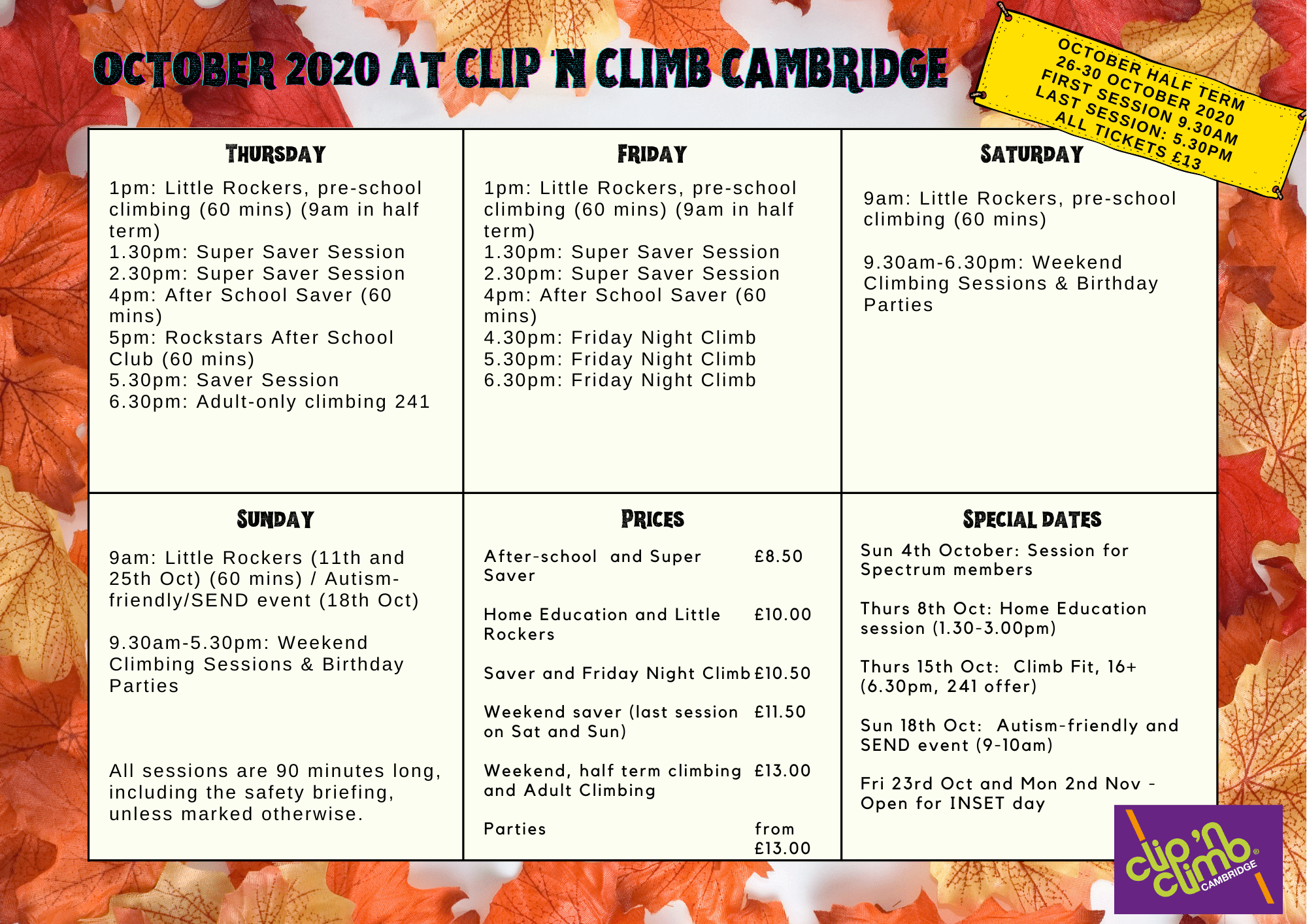 October in Clip 'n Climb Cambridge